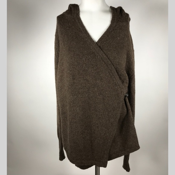 Betabrand alpaca wool hooded wrap sweater sz sm